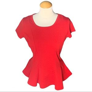 By & By Red Peplum Top